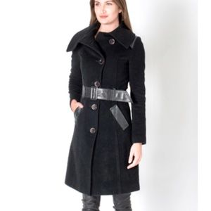 🛍Mackage Leather Trim Wool Coat